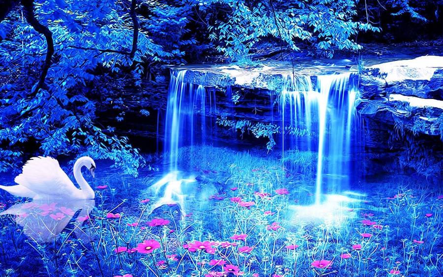 Beautiful Swimming Pool with Waterfall widescreen wallpaper | Wide ...
