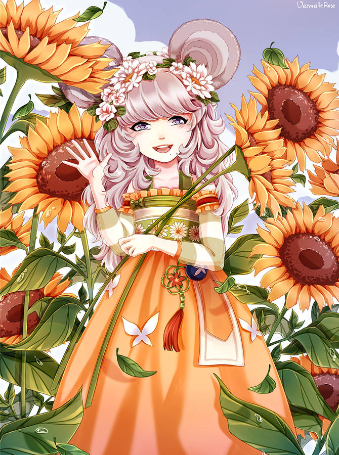 Anime Girl Autumn Leaves