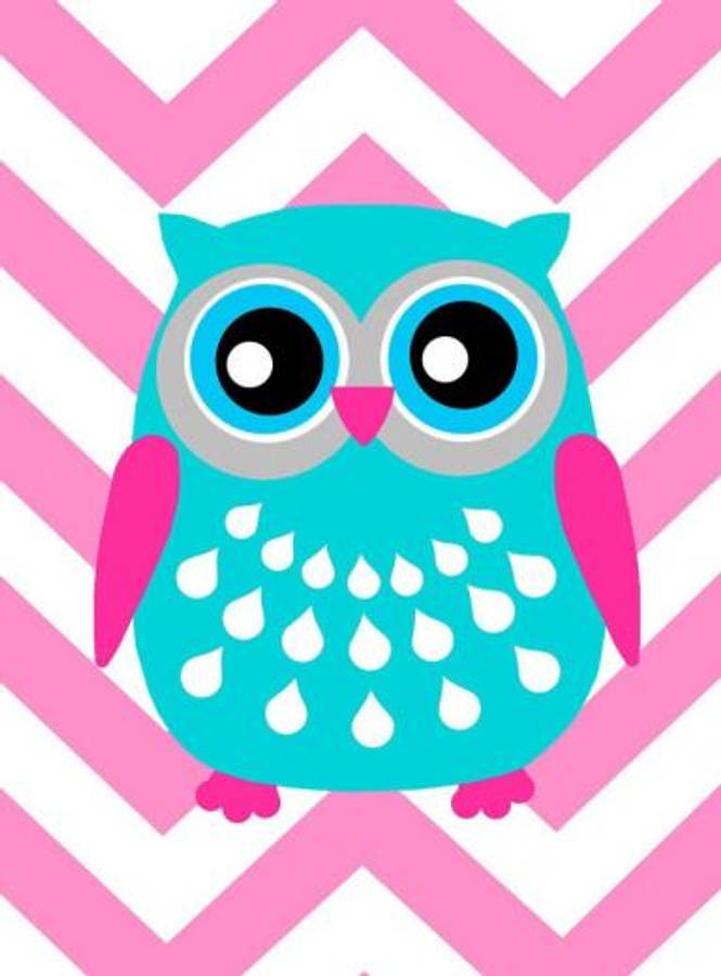 Free two cute cartoon owls perched on a branch clip art