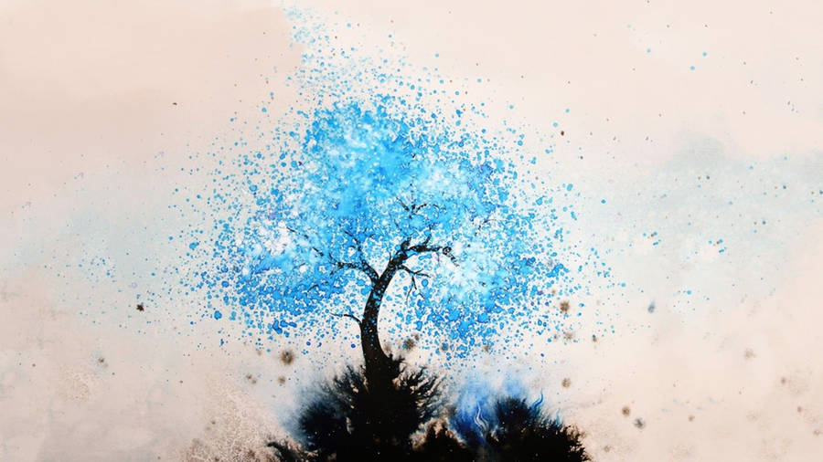 Christmas Tree With Blue Lights