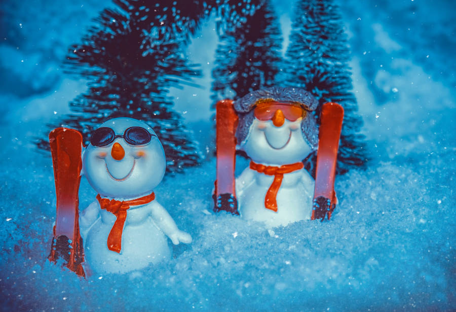 Holiday Ornament Happy Little Snowman Widescreen Wallpaper