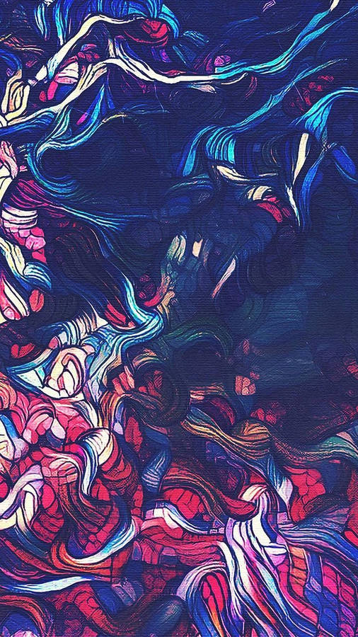AUTUMN PALETTE 12089, acrylic faux batik tree landscape Carol Nelson Fine Art -- Carol Nelson