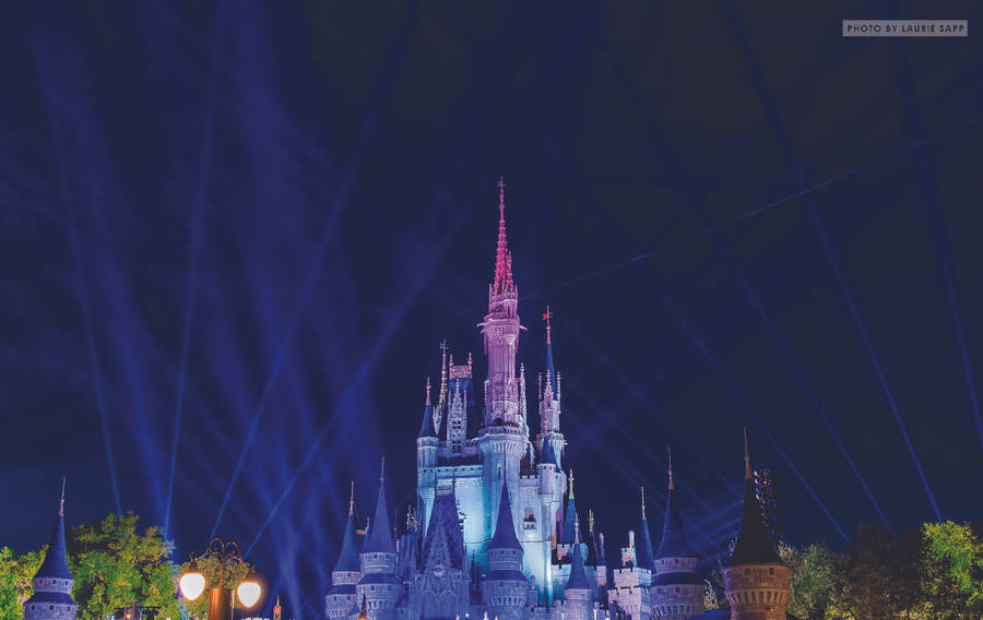 sleeping beauty castle at night disneyland widescreen