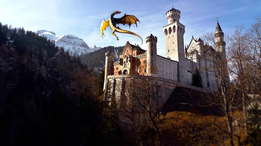 Fantasy tree castle rainbow river l path swan