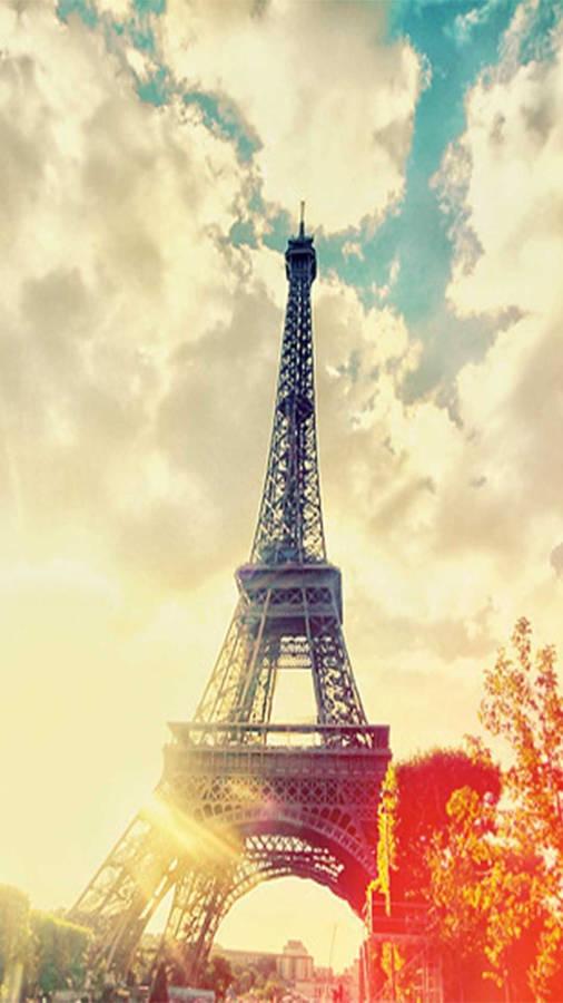 Eiffel Tower, Paris in the Fall season Panoramic View Wallpaper