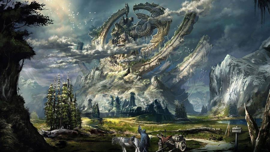 Warrior Battling The Giant Monsters Wallpaper Fantasy