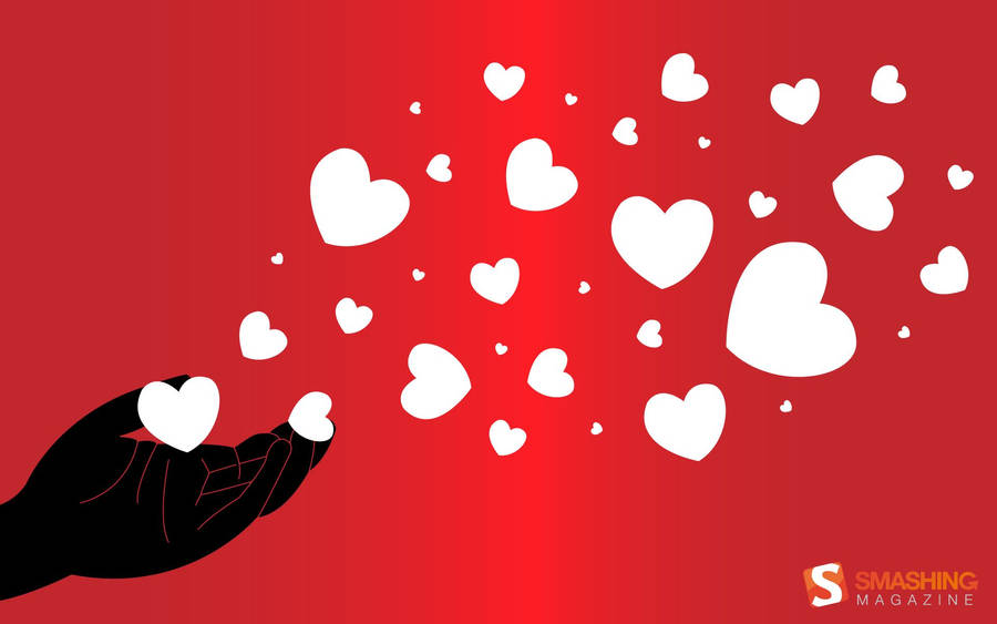 Valentine's Day - Red and White Hearts Wallpaper