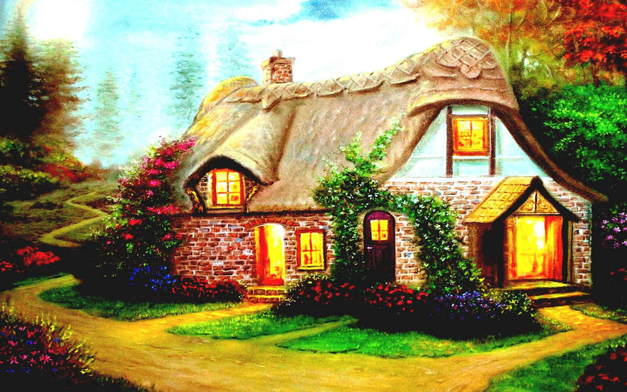 Happy House Drawing Wallpaper