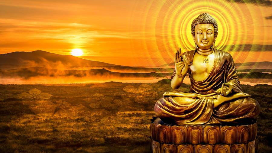 Buddha Bathing In Gold Widescreen Wallpaper Wide