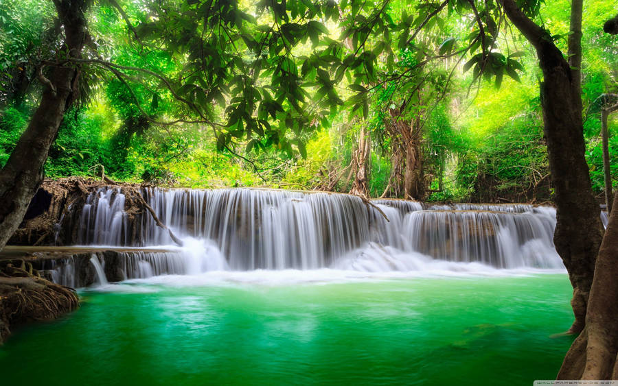 ... Small forest waterfall wallpaper 1920x1080 ...