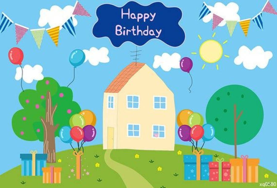 Download Happy Birthday Peppa Pig House Wallpaper Wallpapers Com