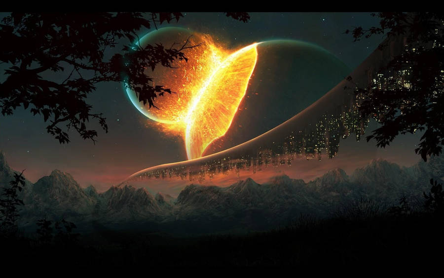Earth, moon and sun Wallpaper
