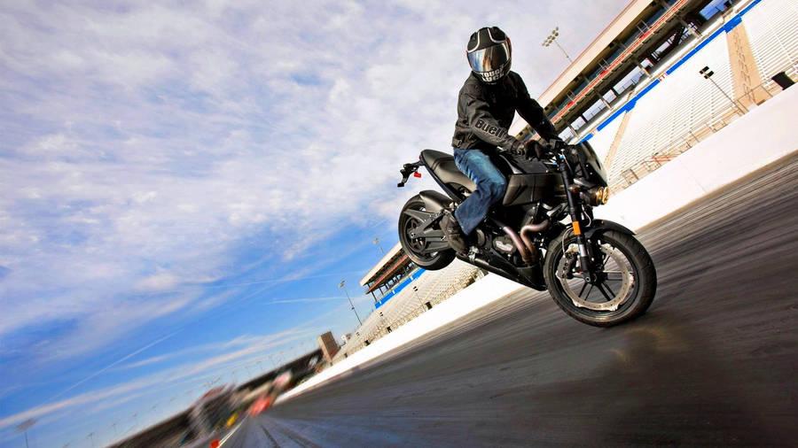 Riding a Yamaha Motorcycle widescreen wallpaper WideWallpapersNET