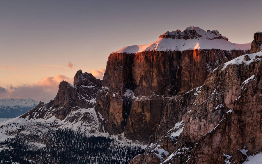 Sunset over Snowy Mountains widescreen wallpaper | Wide ...