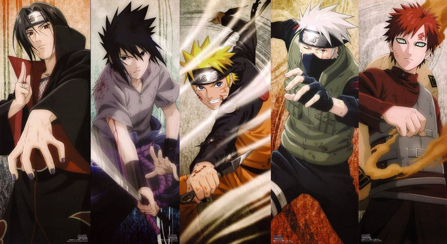 Naruto and Sasuke in fighting posistions