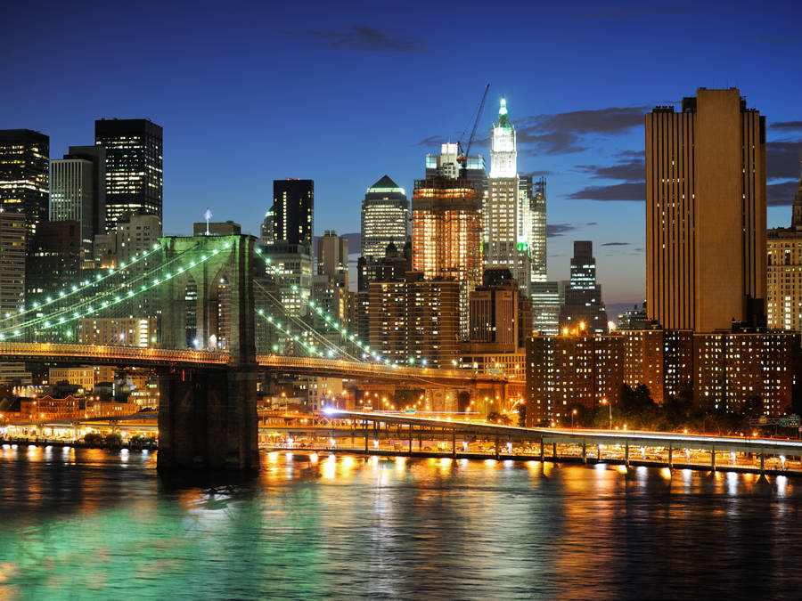 new york city skyscrapers night view widescreen wallpaper | wide