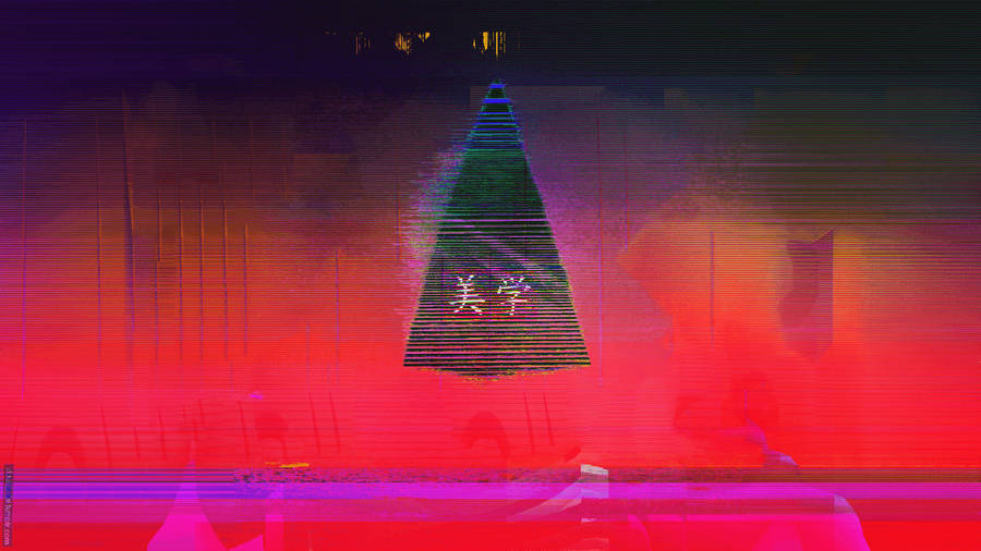 Unduh Glitch Neon Aesthetic Japan Triangle Abstract ...