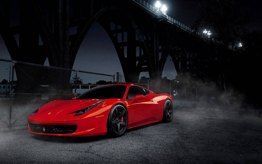 Ferrari in front of a Mansion Wallpaper