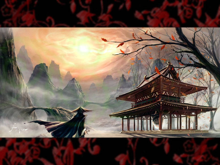 Japanese Architecture Wallpaper Digital Art Wallpapers