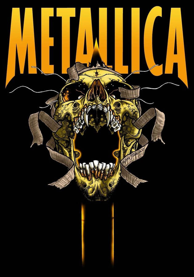 Metallica logo added above the sad but true skulls picture