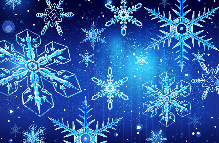 Green Gift Boxes And Snowflakes Widescreen Wallpaper