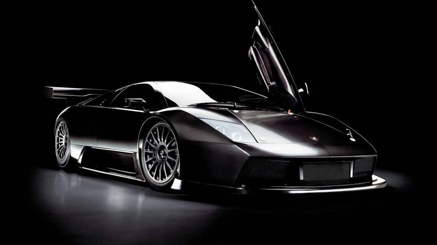 Black Lamborghini Aventador With Open Doors Wallpaper