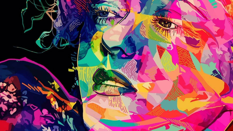 Marilyns- Woman Enjoying Paintings Of Marilyn Monroe By Andy Warhol -- Gerard Boersma