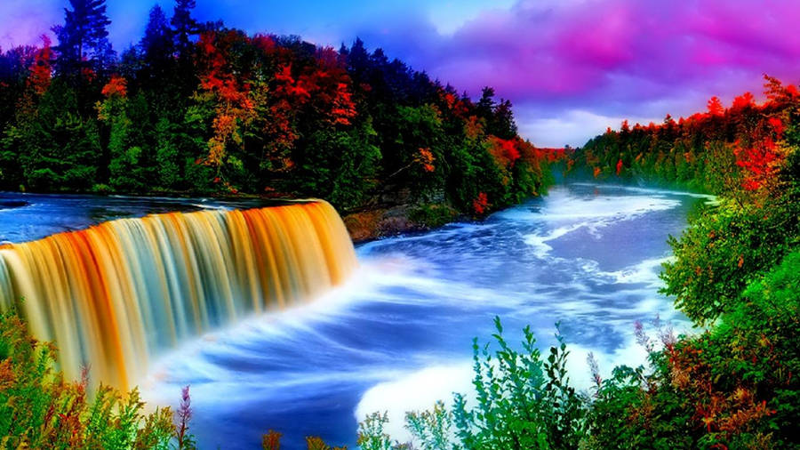 Fishing at a waterfall wallpaper - Nature wallpapers - #