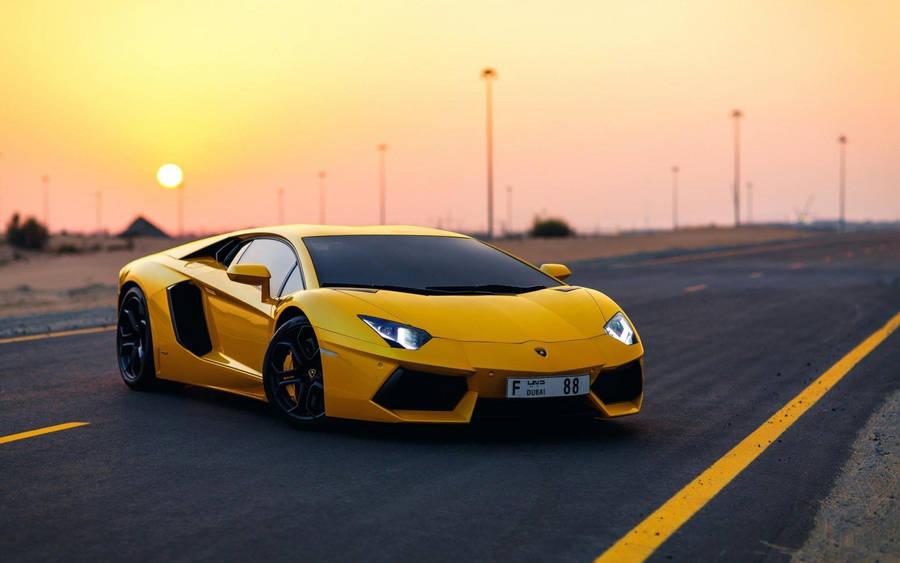 Front view of a wet orange Lamborghini Aventador wallpaper ...